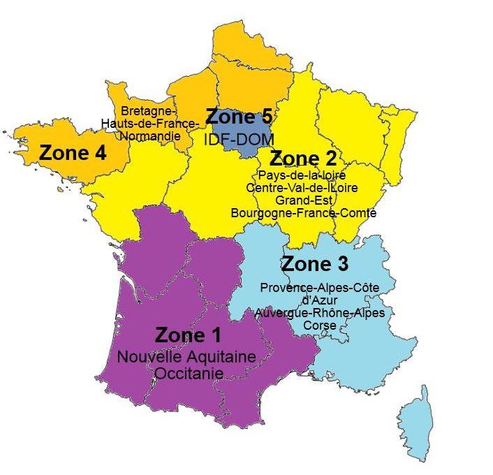 Régions et zones d'application