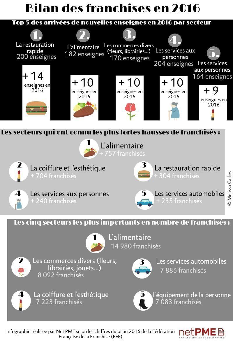 Bilan des franchises par secteurs en 2016