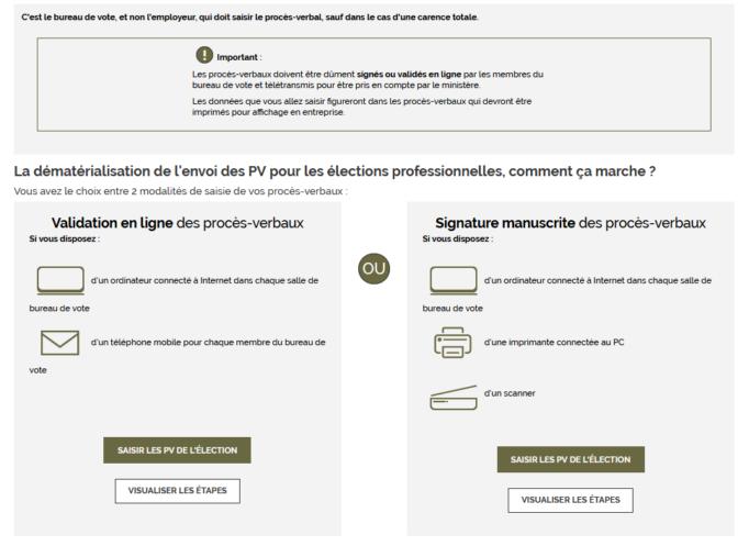Capture d'écran du site du ministère dédié aux élections CSE
